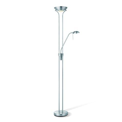 Home sweet home LED-Deckenfluter Uplight Metall Silber Dimmbar, Inkl. LED R7S + G9 leuchtmittel, mit flexibler Leselampe, Stehleuchte Standleuchte LED-Fluter Standlicht, Wohnzimmerleuchte, 3000K Warmweiss