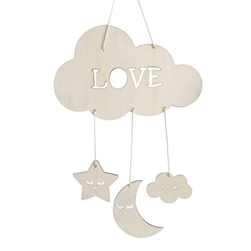 BESTOYARD Holz Hängedeko Love Wolken Mond Sterne Gute Nacht Decke Hängen Baby Mobile Kinderzimmer Dekoration