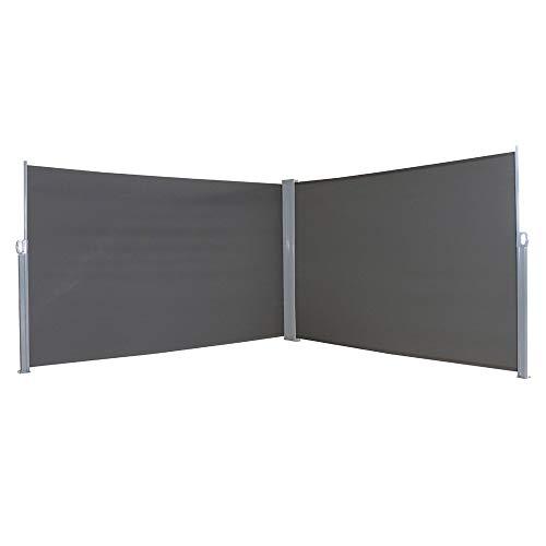 MCTECH Doppel-Seitenmarkise Zertifiziert Sonnenschutz Sichtschutz Windschutz Terrasse Markise Polyester (2 * 6m, Anthrazit)