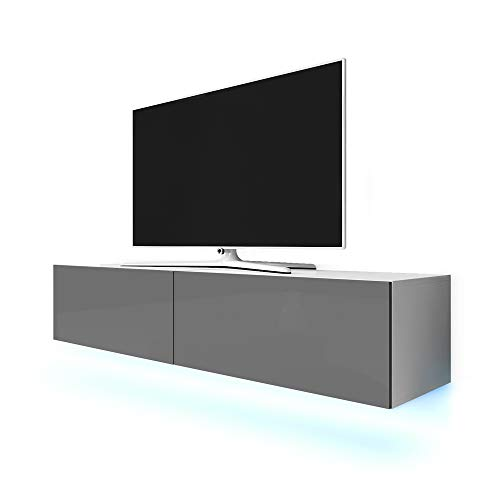 Selsey Lana TV Hängeboard/TV Schrank, Weiß Matt/Grau Hochglanz, LED-Beleuchtung in Blau, 200x40x34 cm