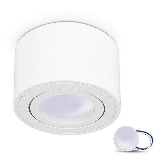JVS Aufbauleuchte Aufbaustrahler Deckenleuchte Aufputz MILANO SMALL 5W LED Modul extra-flach Warmweiss 230V IP20 rund weiss schwenkbar Strahler Deckenlampe Aufbau-lampe Downlight aus Aluminium
