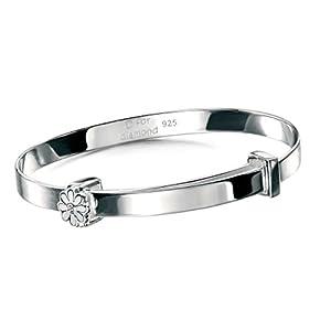 D for Diamants Kinder Tauf-Armreif Sterling-Silber Weiß Gänseblümchen