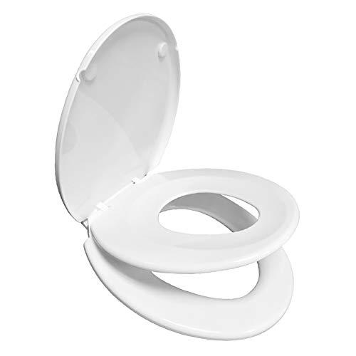 TSBB 2 In 1 WC-Sitz Für Kleinkinder Und Erwachsene Mit Anti-Rutsch-Sitz Bumpers Easy Clean-und Änderungs-Hinge Weiß