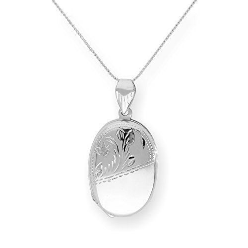 Sterling Silver 4 Photo Family Oval Locket on Chain 16-24 Inches