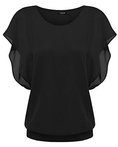 Schwarze Chiffon-bluse (Zeagoo Damen Sommer Casual Loose Fit Kurzarm Fledermaus Batwing T-Shirt Shirt Chiffon Top Bluse, EU 42(Herstellergröße:XL), Schwarz)