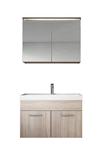 Badezimmer Badmöbel Set Paso 02 80 cm Waschbecken Sonoma - Unterschrank Schrank Waschbecken Spiegelschrank Schrank - Eiche Wand-platte