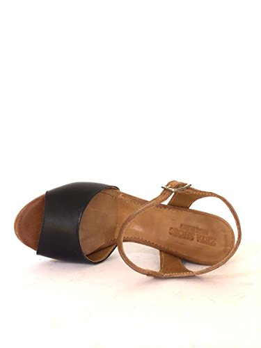 Sandali tacco comodo NNau92 in pelle made nero cuoio blu MainApps Nero