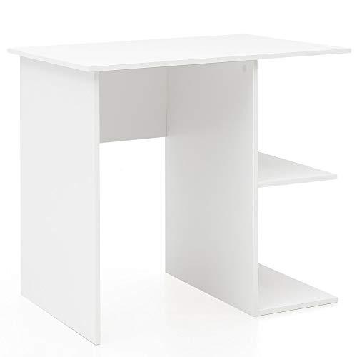 FineBuy Computertisch Weiß Schreibtisch 82 x 76 x 60 cm | Kleiner Laptop PC Tisch Büro ohne Rollen | Bürotisch mit Ablage |...