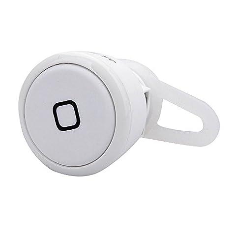 Cuitan Universel Mini Sans-fil Bluetooth 3.0 Casque In-ear Mono Appel Écouteur Suppression du bruit Earbud Oreillette Headset Headphone Earphone pour iPhone, iPad, Samsung, Xiaomi, Sony, HTC, Nokia, Autre Bluetooth Smart Phones et Tablets avec Câble de Recharge USB et Earhook - Blanc