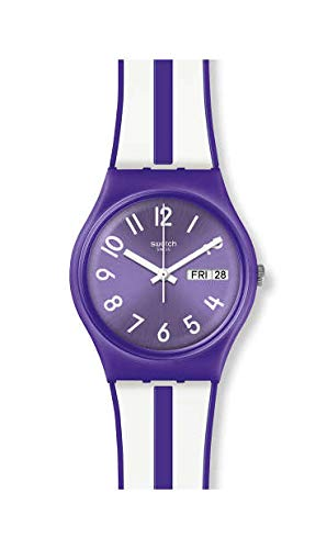 Swatch Damen Analog Quarz Uhr mit Silikon Armband GV701 - Damen Swatch Uhren Lila