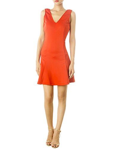 iB-iP Donna V-Collo Basso Indietro Vestibilità Slim Flare Mini Abito Baby-Doll, Dimensioni: XL, Coral