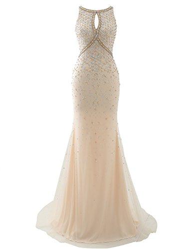 eacfc85a8ccbe Sarahbridal Damen mermaid Tüll Bodenlang Abendkleider Ballkleid Elegant mit  Perlen und Kristall.