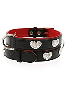 UrbanPup Red / Black Leather Diamante Heart Collar