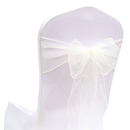GLITZFAS Organza Schleife Stuhlschleifen Stuhlhussen Stuhl Schärpe Hochzeit Bankett Partys Dekoration Band Schleifenband Jahrestag (Milchig weiß)