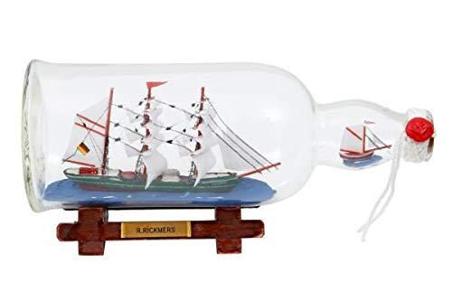 Buddelschiff 1 liter Flasche R. Rickmers 27 cm Länge
