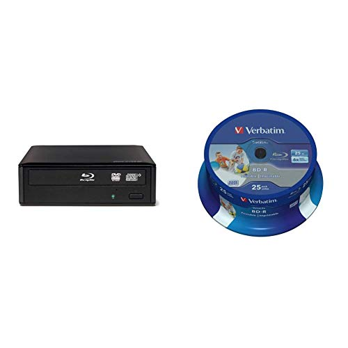 Buffalo BRXL-16U3-EU 16 x USB 3.0 externes Blu-ray-Laufwerk & Verbatim 43811 25 GB 6 x BD-R SL Datalife Tintenstrahldrucker - 25 Pack Spindel