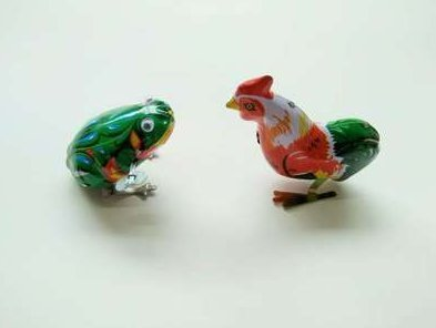 UChic 2PCS Vintage Metal Wind-up Jumping Frog Cock, used for sale  Delivered anywhere in UK