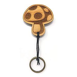 Schlüsselanhänger Pilz aus Holz optional mit individueller persönlicher Gravur !