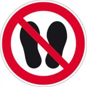 Aufkleber Betreten der Fläche verboten gemäß ASR A1.3/ DIN 7010 Folie selbstklebend 20 cm Ø (Verbotsschild) praxisbewährt, wetterfest