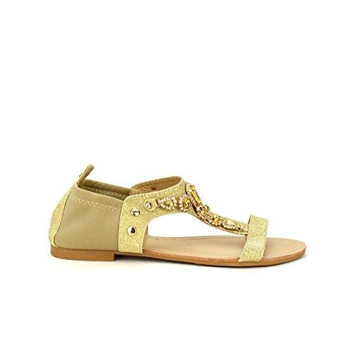 Cendriyon, Sandales Dorées CINKS PIERRES Chaussures Femme Doré