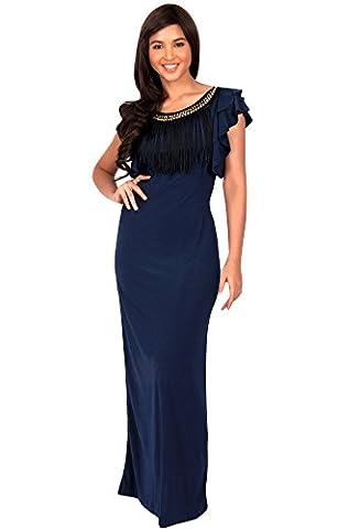 KOH KOH® Damen Ausschnitt Kürze Flügelärmel Maxikleid Elegante Lange Kleid Verziert, Farbe Marineblau, Größe M / Medium (Mutter Der Braut Formal Wear)