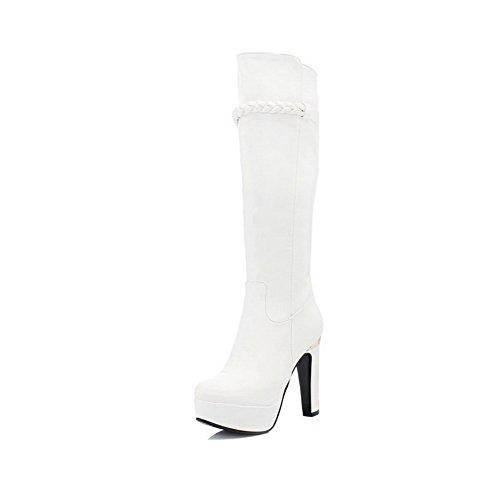 AllhqFashion Damen Rund Zehe Rein Hoch Spitze Niedriger Absatz Stiefel mit Metallisch, Weiß, 36