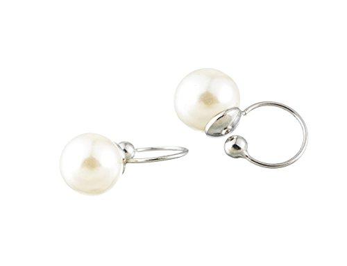 Lazy Cat Damen Ohrclips ohrringe Massiv Echt 925 Sterling Silber Perlen Clips