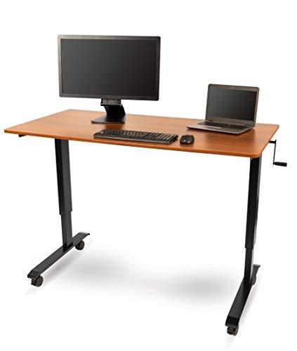 Kurbelverstellbarer Sitz-Stehtisch - Wohnung Schreibtisch (Rahmen schwarz / Teakholz, Schreibtisch Länge: 150cm) - Schreibtisch-job