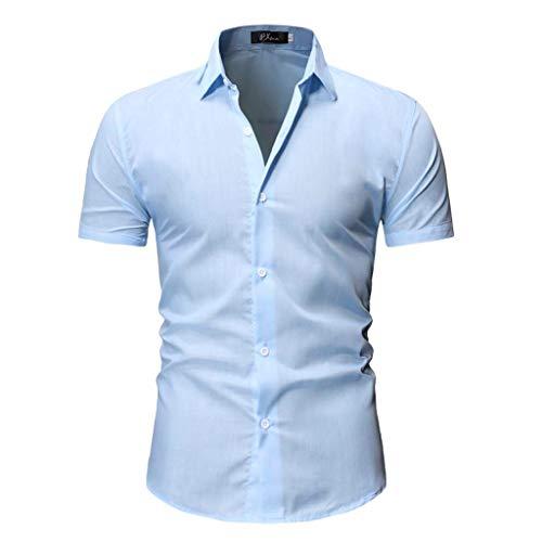 Xmiral Uomo Camicia Originale Slim Fit Maniche Corte Uomo Camicie Moda Men Shirts Slim Fit M Azzurro
