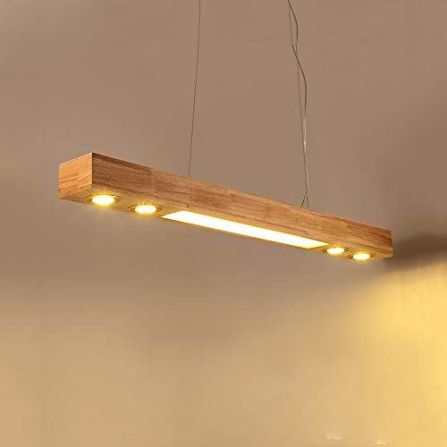 ZMH - Lámpara colgante de techo LED, madera, altura regulable, con focos empotrables para mesa de comedor, cocina, salón, oficina, cafetería, etc., 3500K, luz blanca cálida