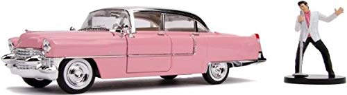 Jada kompatibel mit Cadillac Fleetwood 1955 pink weiß mit Figur Elvis Presley Modellauto 1:24 Toys