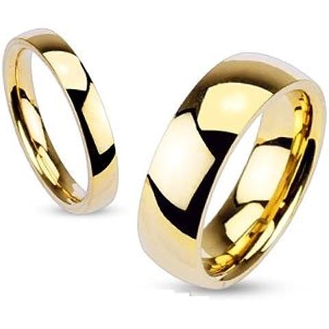 bungsa® Anello fidanzamento classico lucidato acciaio inox dorato per uomo e donna 49–70(anello partner anelli anelli di fidanzamento TRAURINGE chirurgico anello da donna acciaio donne uomini)