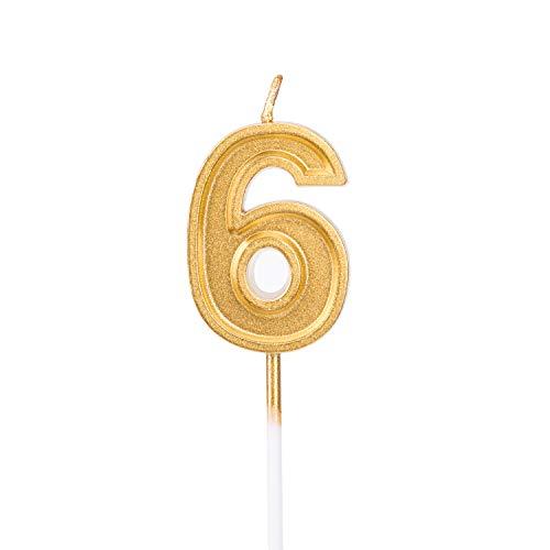 eburtstagskerzen Kerzen Geburtstag Birthday Candles Zahlenkerze Zahl6 Kuchen Topper Dekoration für Party Kinder Erwachsene ()