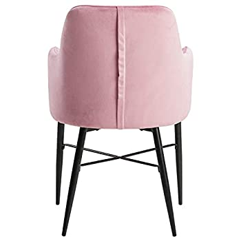 WOLTU Dining Chairs Set of 2 pcs Kitchen Counter Chairs Lounge Leisure Living Room Corner Chairs Pink Velvet Reception Chairs with Arms and Back Support