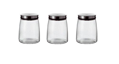 Vorratsglas, Glasbehälter • 3er Set • Inhalt: 1,0 Liter • Material: Glas / Deckel Metall Montana Glas