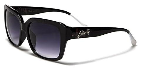 Giselle Kaira Ladies Designer Sunglasses with Polar Eyes microfibre pouch - Full UV400 protection (Black & white frame with smoke