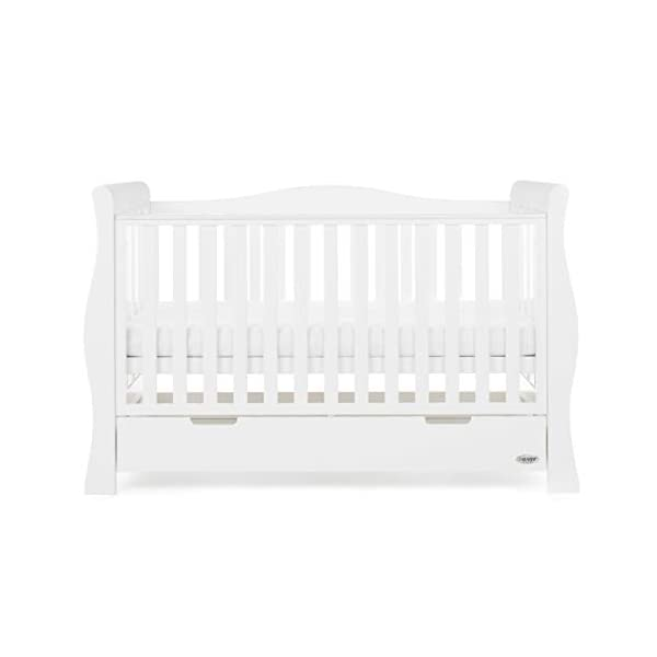 Obaby Stamford Sleigh Luxe Cot Bed - White Obaby Adjustable 3 position mattress height Bed ends split to transforms into toddler bed Includes matching under drawer for storage 6