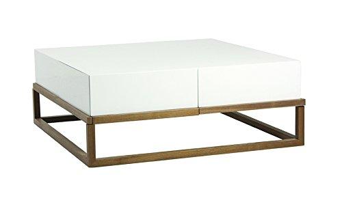 designement Taciana Table Basse Laqué Blanc 100 x 100 x 38 cm