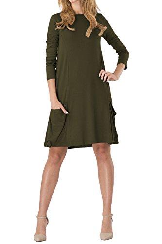 YMING Femme Tunique avec Poche Manches longues Robe en vrac Col Rond Chemise Midi Robe Grande Taille,armée vert,XXXL / FR 48-50