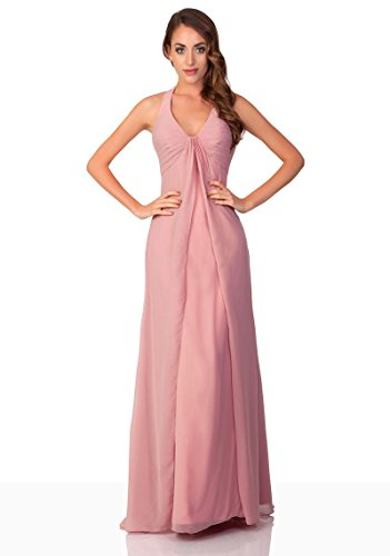 VIP Dress Langes Abendkleid / Chiffon Ballkleid / Standesamtkleid in Altrosa, Größe 38