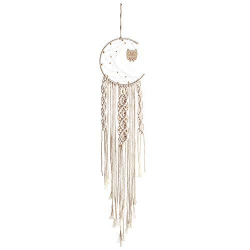 Ototon - Tapiz para Colgar en la Pared, diseño de atrapasueños de Luna, Tejido de algodón con glantas Bohemias, Sensor de sueño, decoración para el hogar