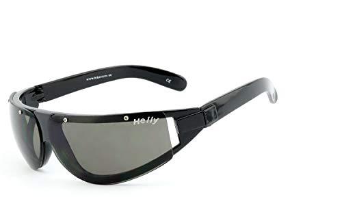 Helly® - No.1 Bikereyes® | UV400 Schutzfilter, HLT® Kunststoff-Sicherheitsglas nach DIN EN 166 | Bikerbrille, Motorradbrille, Sportbrille | Brillengestell: schwarz, Brille: daytona - smoke