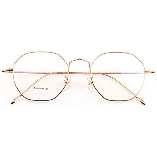 DXMR Advanced Lesung Gaming Brille,Glasses Anti Blue Light,Polygonaler Brillenrahmen aus reinem Titan, Flacher Spiegel aus Titan, 3 Farben,Entlastung der Augen vor Müdigkeit-Gold