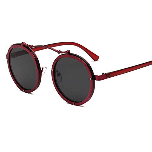 GJYANJING Sonnenbrille Beliebte Frauen Runde SonnenbrilleVintage Männer Matte FrameSonnenbrilleUv400