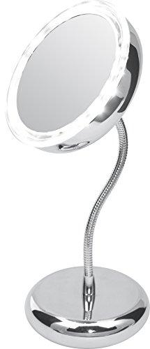 Camry cr2154 Espejo de Maquillaje con Luz y Aumento 5x, Ventosa para Pared, Flexible, Gris