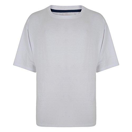 Brooklyn Men's Kingsize Plain Basic Crew Neck T-Shirt-White-7XL