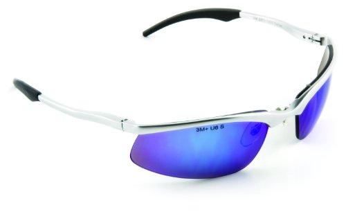 3m Safety Sunwear ss1428as-s, blu lenti a specchio argento, telaio in alluminio, rivestimento antigraffio