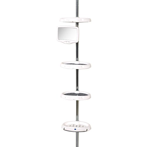 Tension Pole Caddy (Zenna Home 5804B, Deluxe Bathtub and Shower Tension Corner Pole Caddy, White/Chrome by ZPC Zenith Products Corporation)