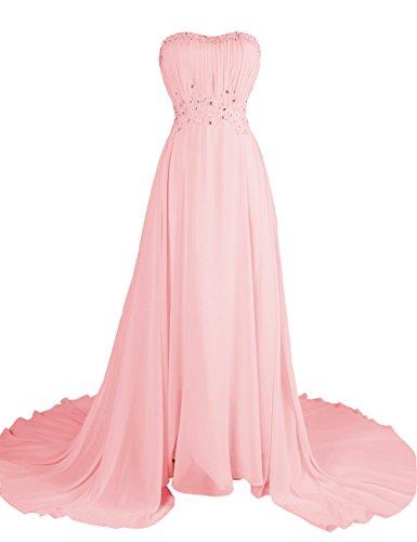 Dresstells, Robe de soirée Robe de cérémonie Robe de gala emperlée plissée bustier en cœur traîne mi-longue Rose