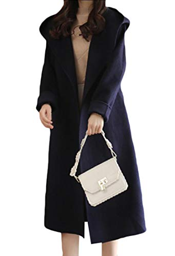 CuteRose Women Turn-down Collar Fall Winter Classy Belted Long Trench Coat Navy Blue S - Knee Length Down Coat